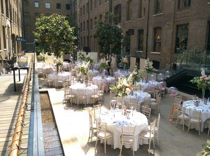 July Wedding Breakfast in Courtyard