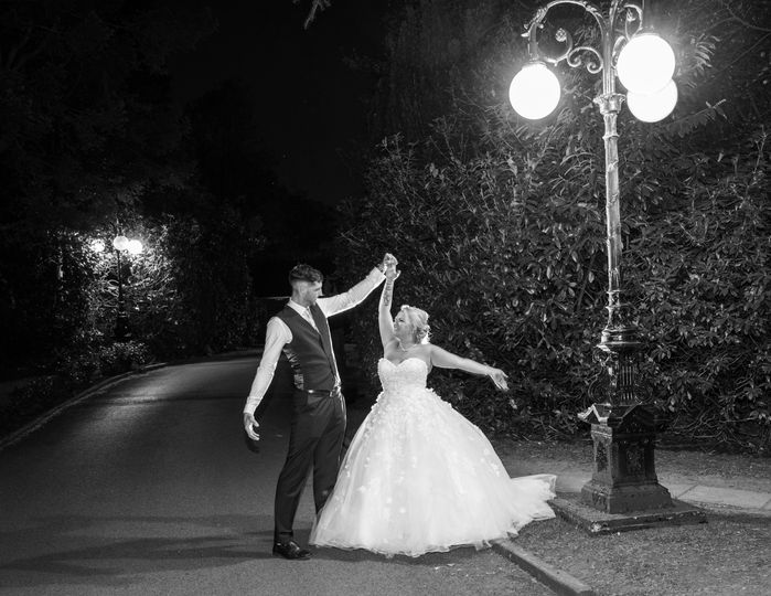 Couple dancing under the lights