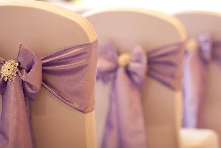 Lilac Taffeta and brooch