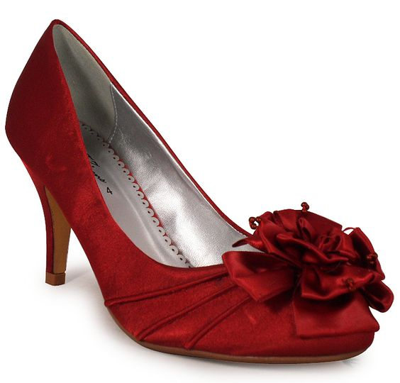 Burgundy Satin Occasion Wedding Shoes