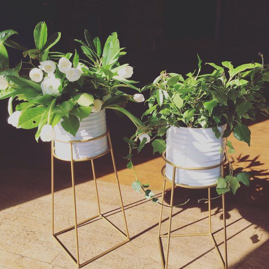 Copper and white flower stands