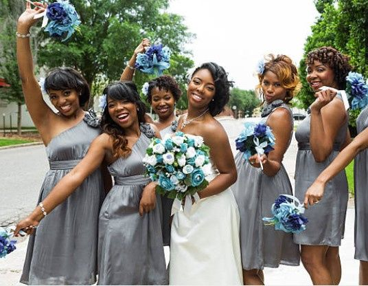 Neutral bridesmaids look