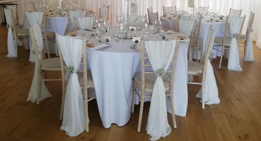 White Chiffon Chair Drapes