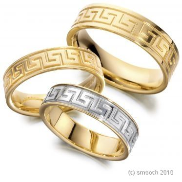 Greek Key Wedding Rings