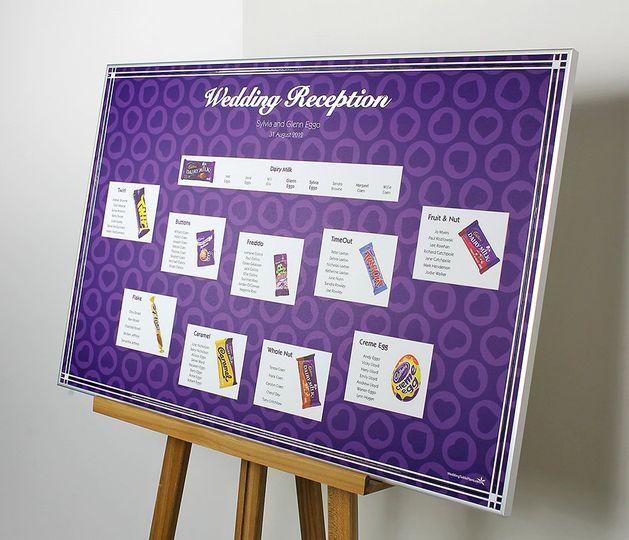 Cadbury themed table plan
