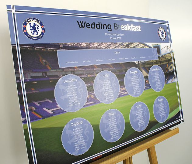 Chelsea FC wedding table plan