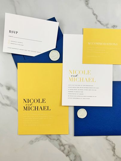 Yellow and blue stationery