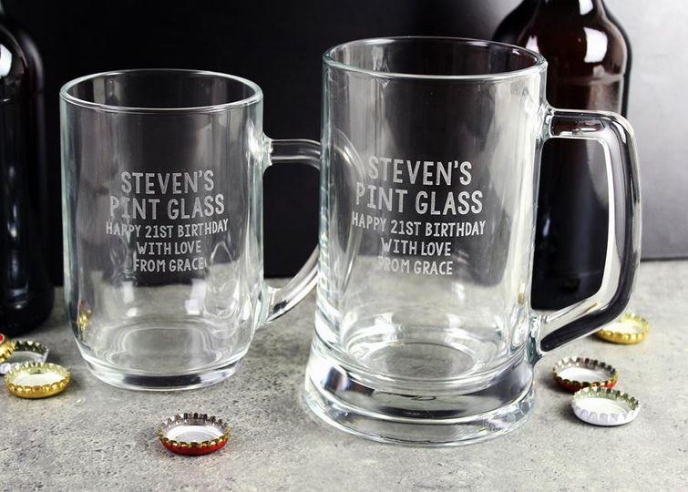 Engraved tankard glasses