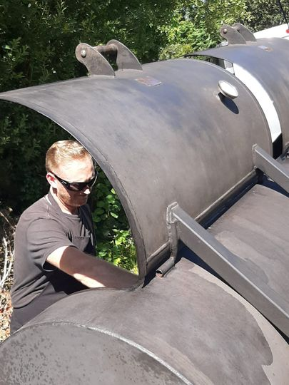 Jonno at work in the BBQ