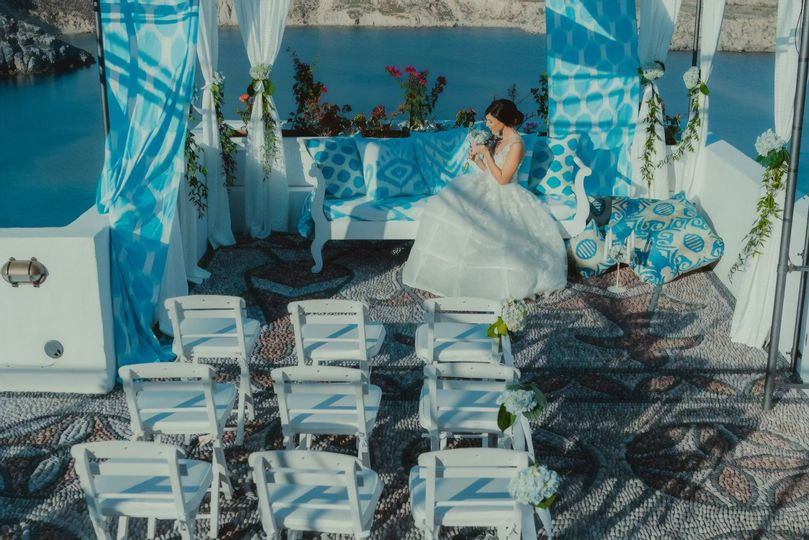 Bride seated on a couch