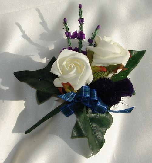 Thistle, heather & rose buttonhole