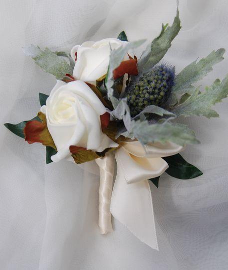 Ivory rose & thistle buttonhole