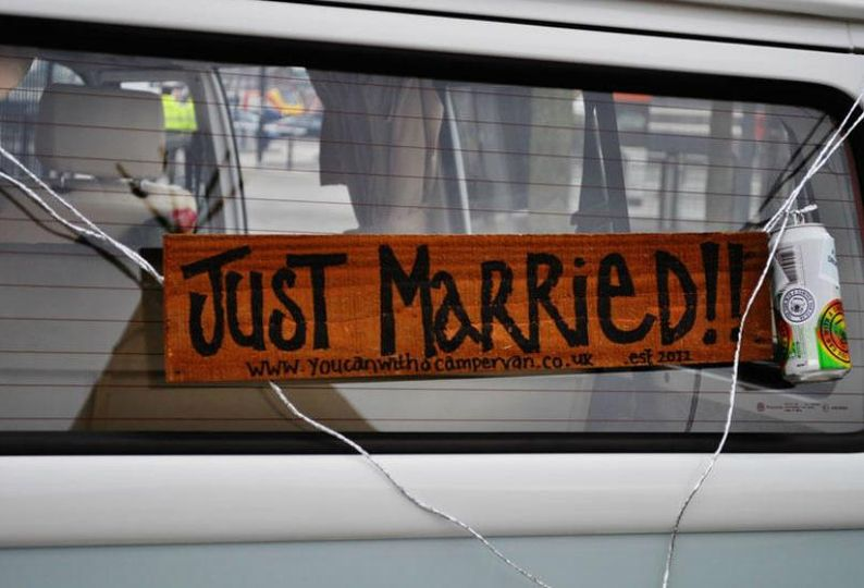 'Just Married' sign