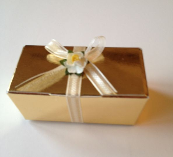 Gold Box with ribbon & flower