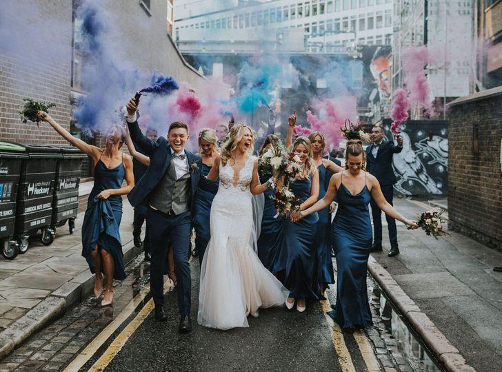 Colourful wedding parade