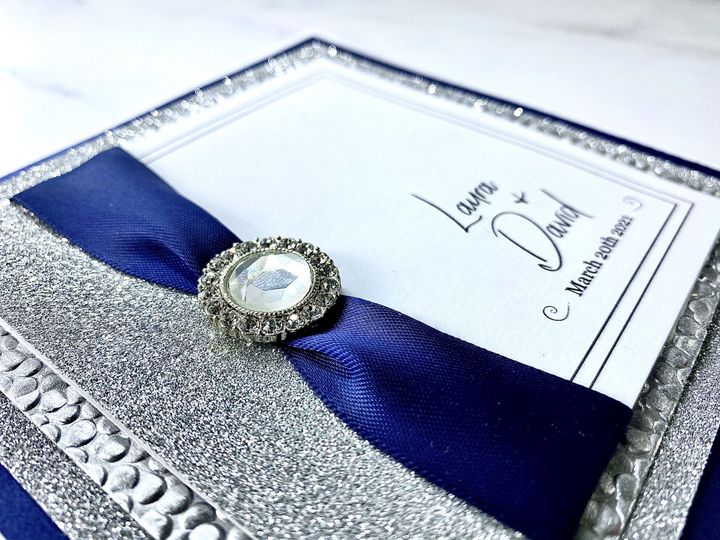 Customisable navy blue invite