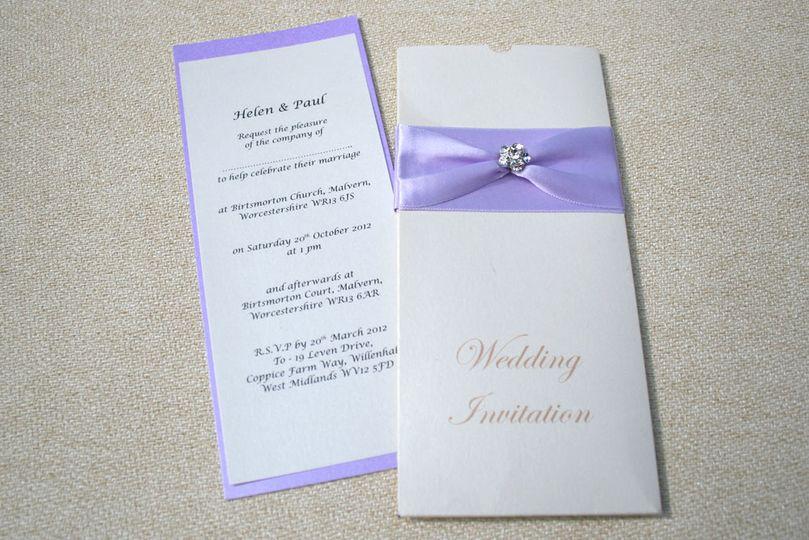 Light purple ribbon invite