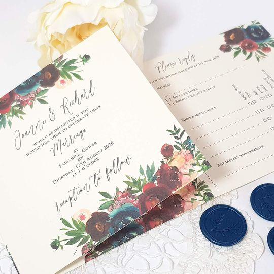 concertina wedding invitation with burgundy floral design 4 75552 161054739121929