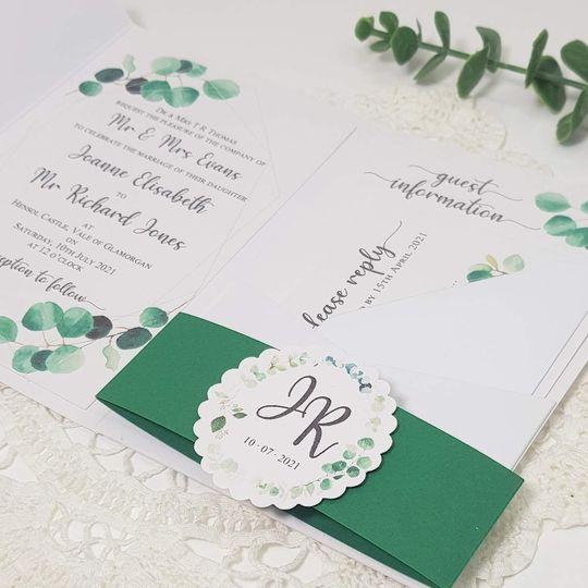 Greenery pocketfold invitation