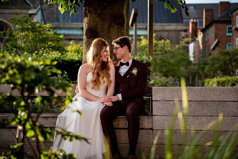 A sweet newlywed couple