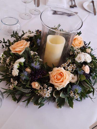 Fresh wreath table centre