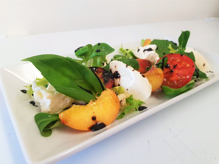 Puglian Burrata peach and tomato saladf