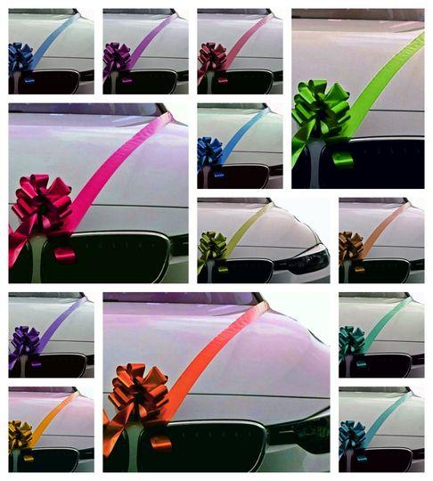 Wedding car ribbons and bows
