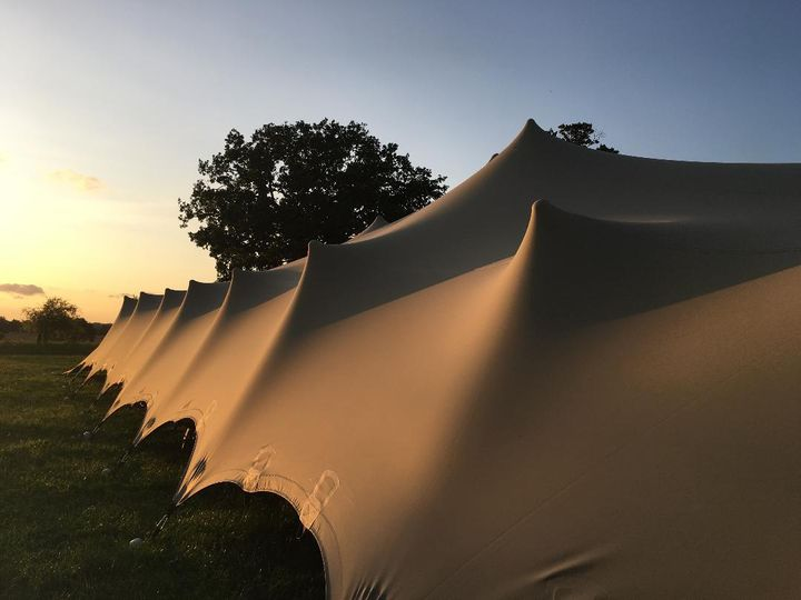 The stretch tent at sunset