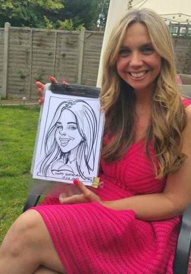 Caricature artist on a wedding