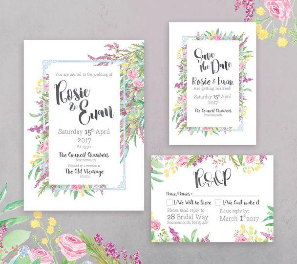 Spring Floral Stationery Set