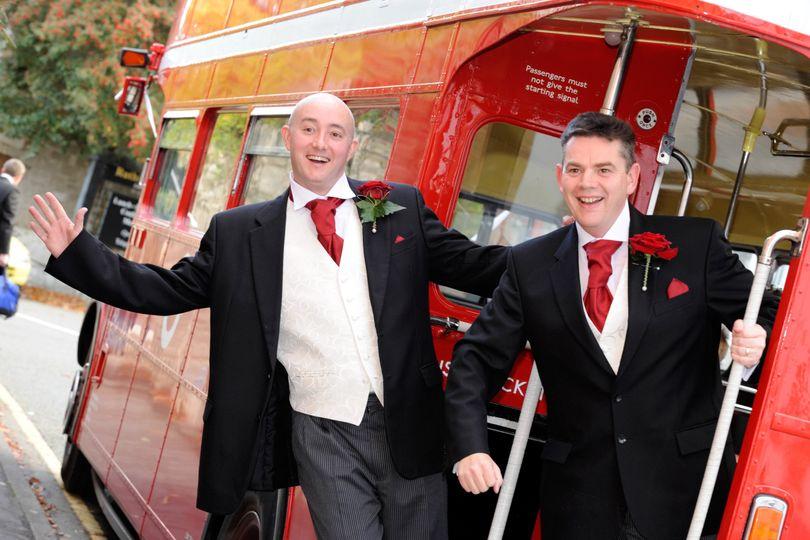 The groomsmen posing