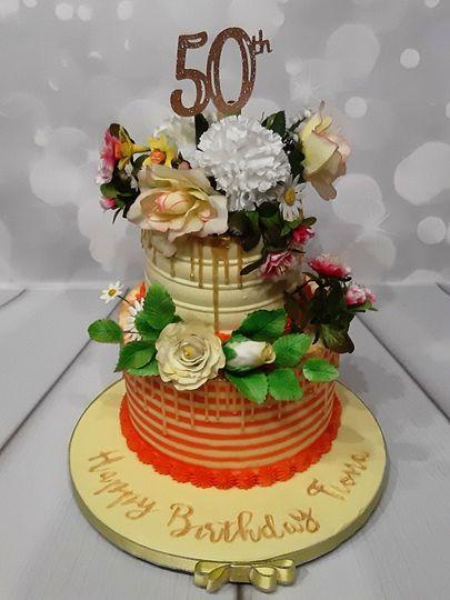 50th buttercream birthday cake