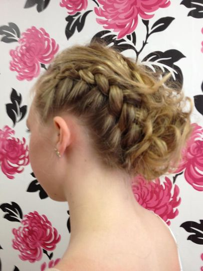 Side plait with curls on side