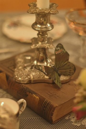 Vintage books and silverware