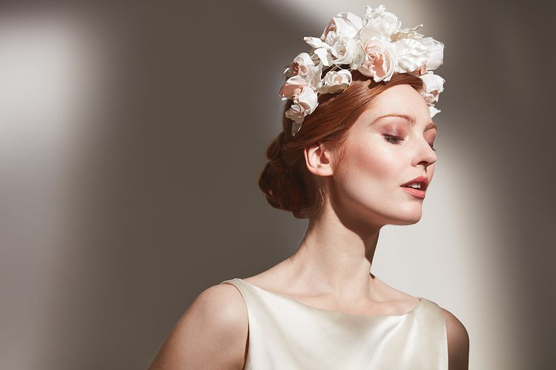 Ivory silk headdress