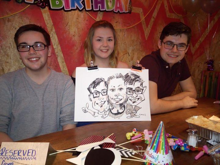 Group drawing at party