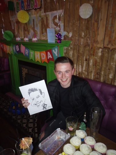 On the spot Party caricature