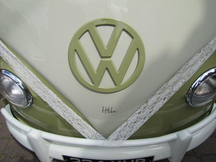 Campervan decorated with wedding lace