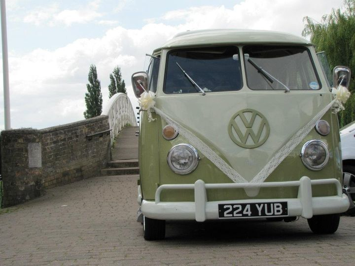 VW Campervan decorated for a wedding