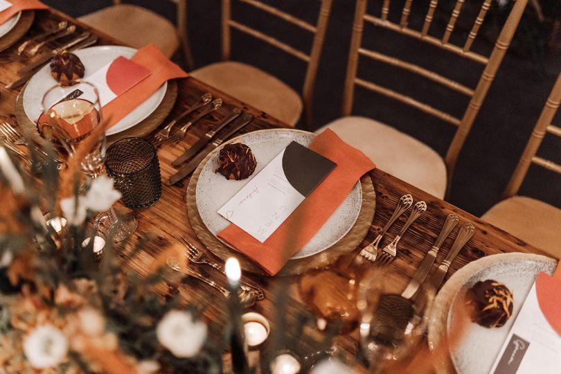 Burnt orange table detailing