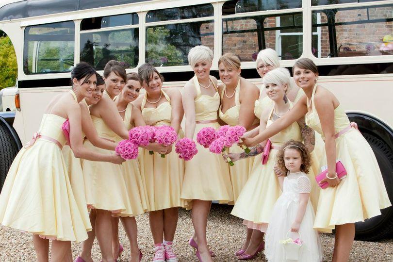 Ten lemon satin bridesmiads