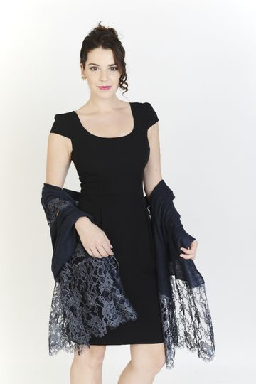 Charcoal Chantilly Lace Wrap