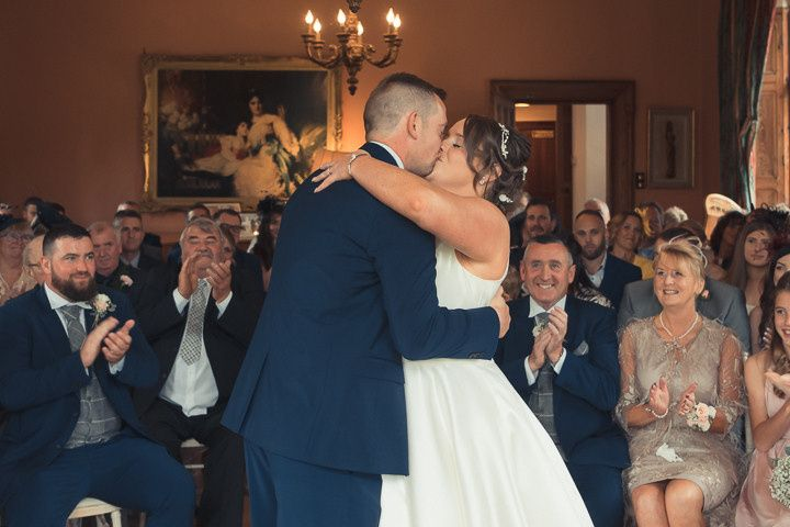 The first kiss as Mr and Mrs