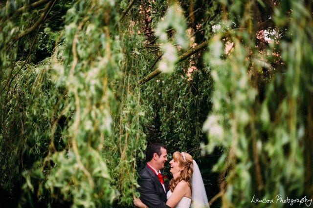 Newlyweds in the romantic garden