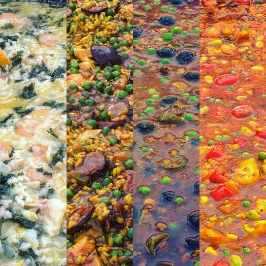 Four very different paellas