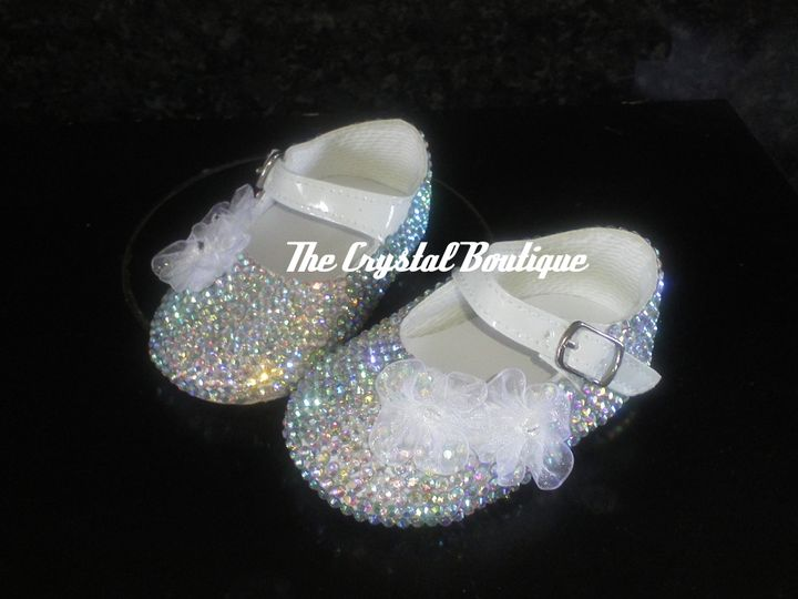 White pram crystal shoes