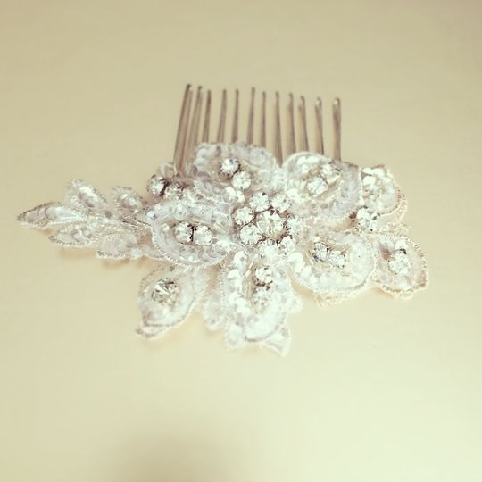 Silver crystal hair comb