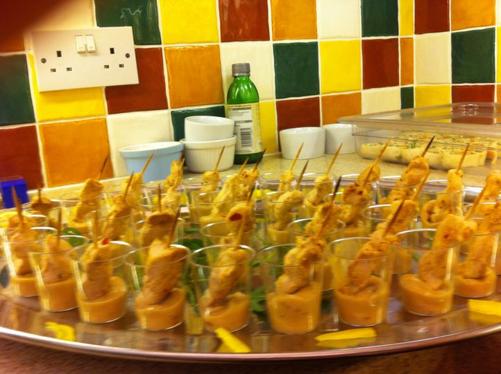 Chicken satay shot canapes
