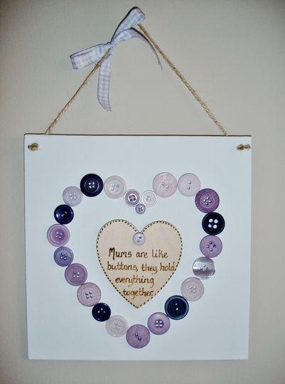 Button heart hanger