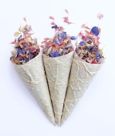 Delphinium and Wildflower Petal Confetti in Textured Paper Confetti Cones. The Real Flower Petal...